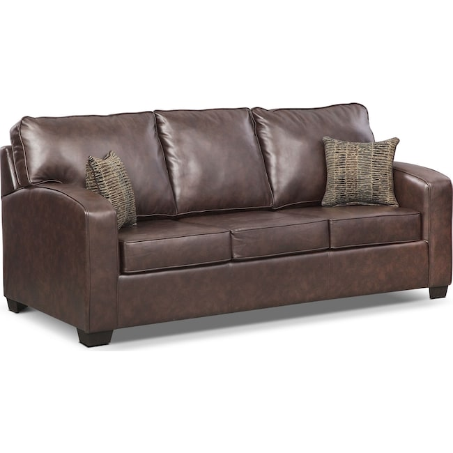 Living Room Furniture - Brookline Queen Memory Foam Sleeper Sofa - Brown