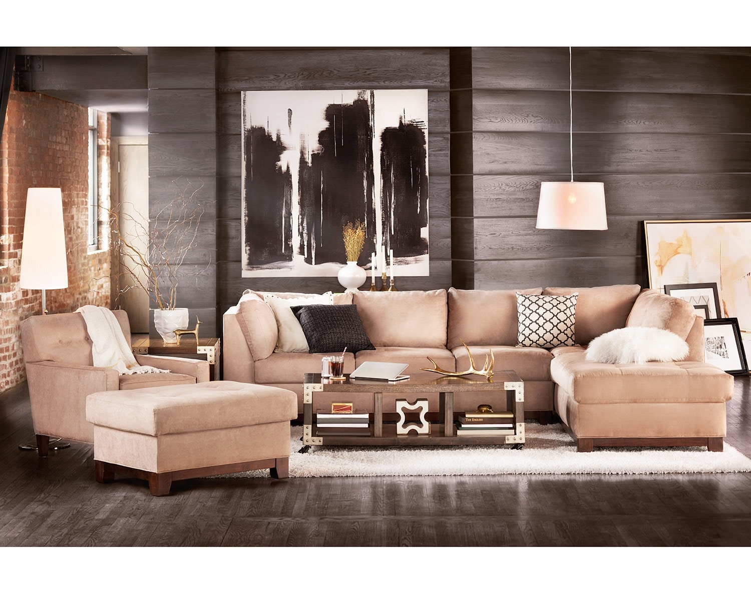 The Soho Sectional Collection - Cobblestone  sc 1 st  Value City Furniture : soho tufted sectional - Sectionals, Sofas & Couches