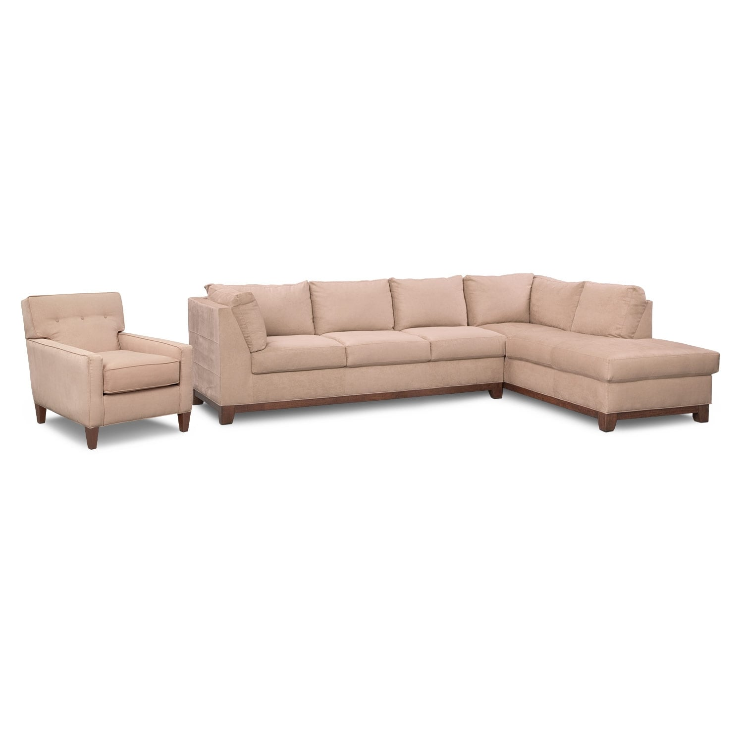 Soho 2-Piece Sectional with Right-Facing Chaise and Chair - Cobblestone