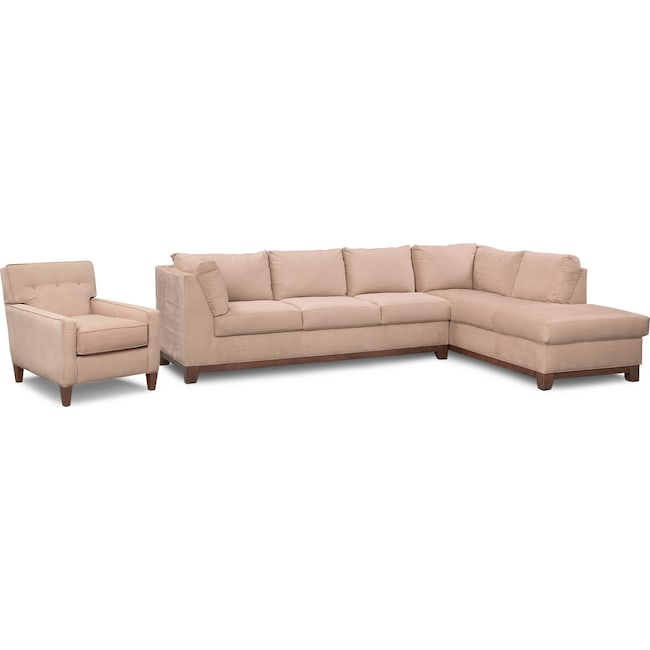 Living Room Furniture - Soho 2-Piece Sectional with Right-Facing Chaise and Chair - Cobblestone