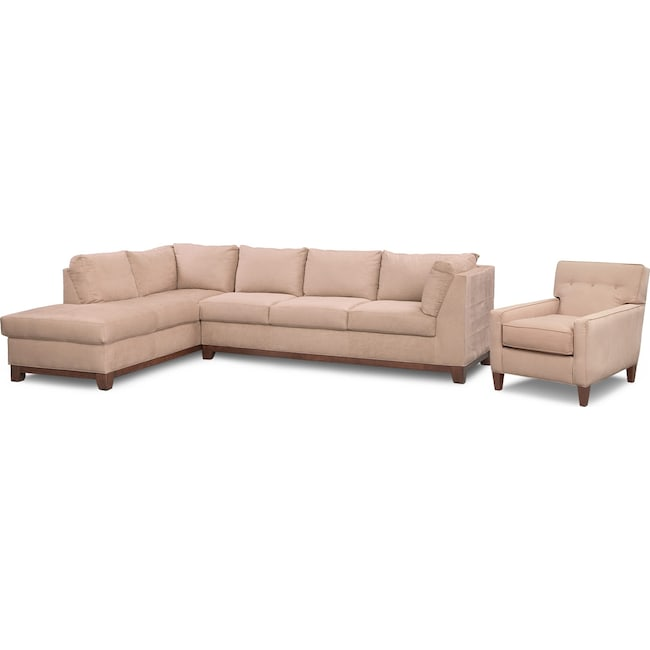 Living Room Furniture - Soho 2-Piece Sectional with Left-Facing Chaise and Chair - Cobblestone