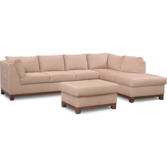 Living Room Furniture - Soho 2-Piece Sectional with Right-Facing Chaise and Ottoman - Cobblestone