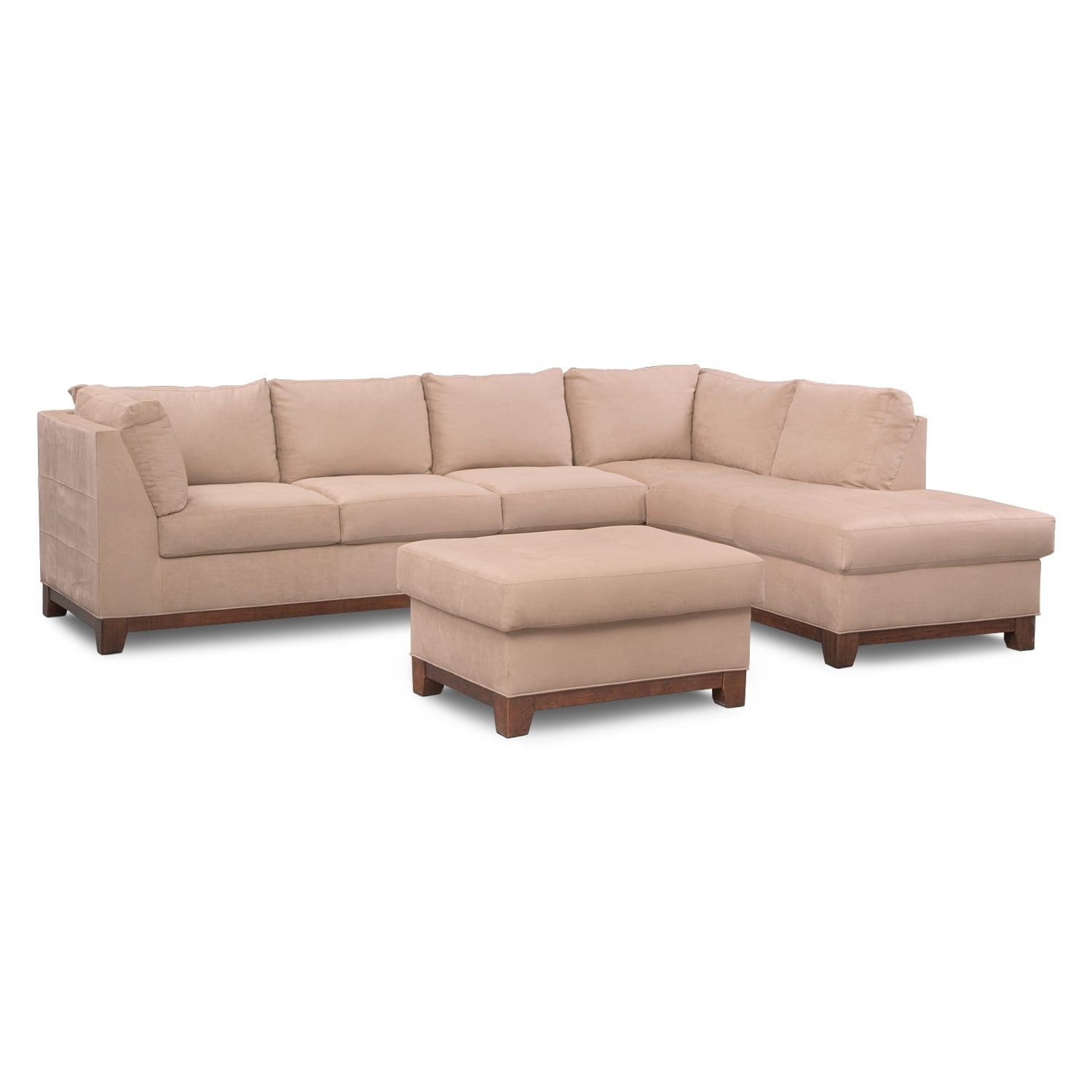 soho 2piece sectional with rightfacing chaise and ottoman cobblestone