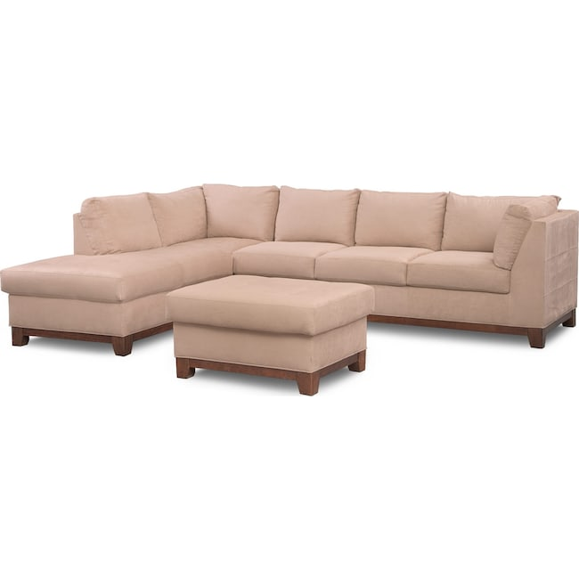 Living room furniture soho 2 piece sectional with left facing chaise and ottoman