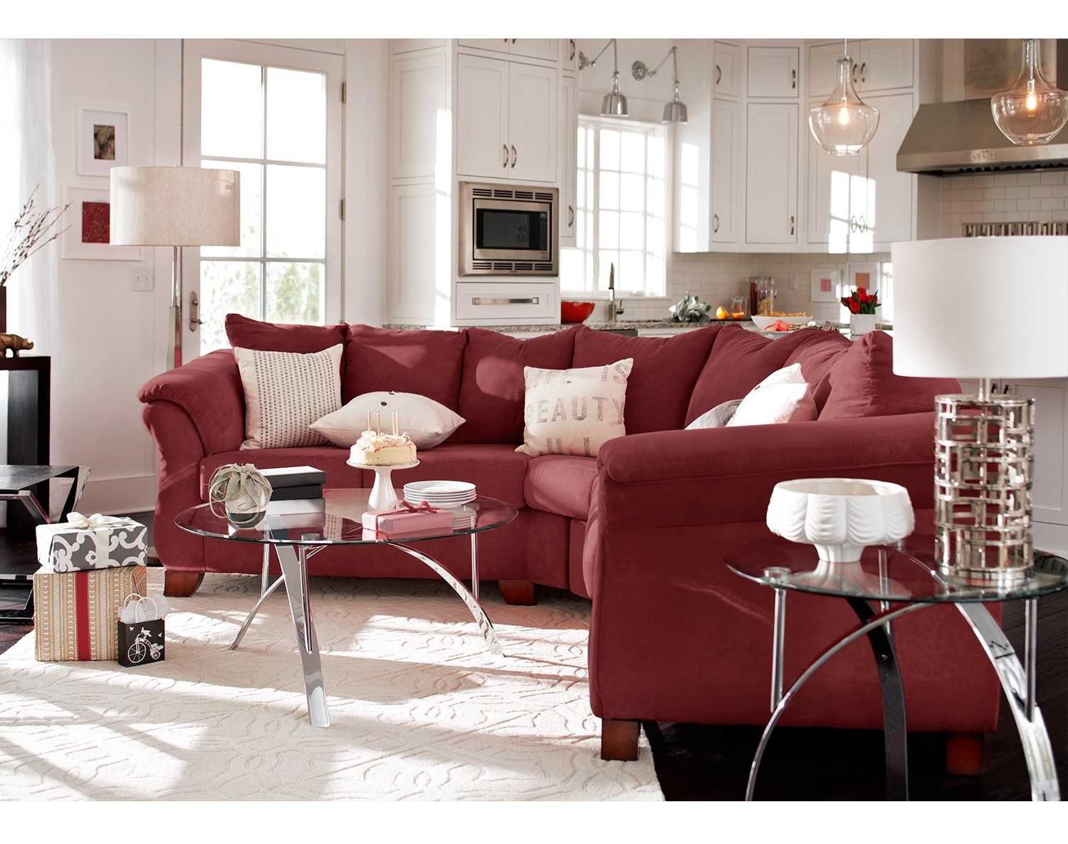 The Adrian Sectional Collection   Red