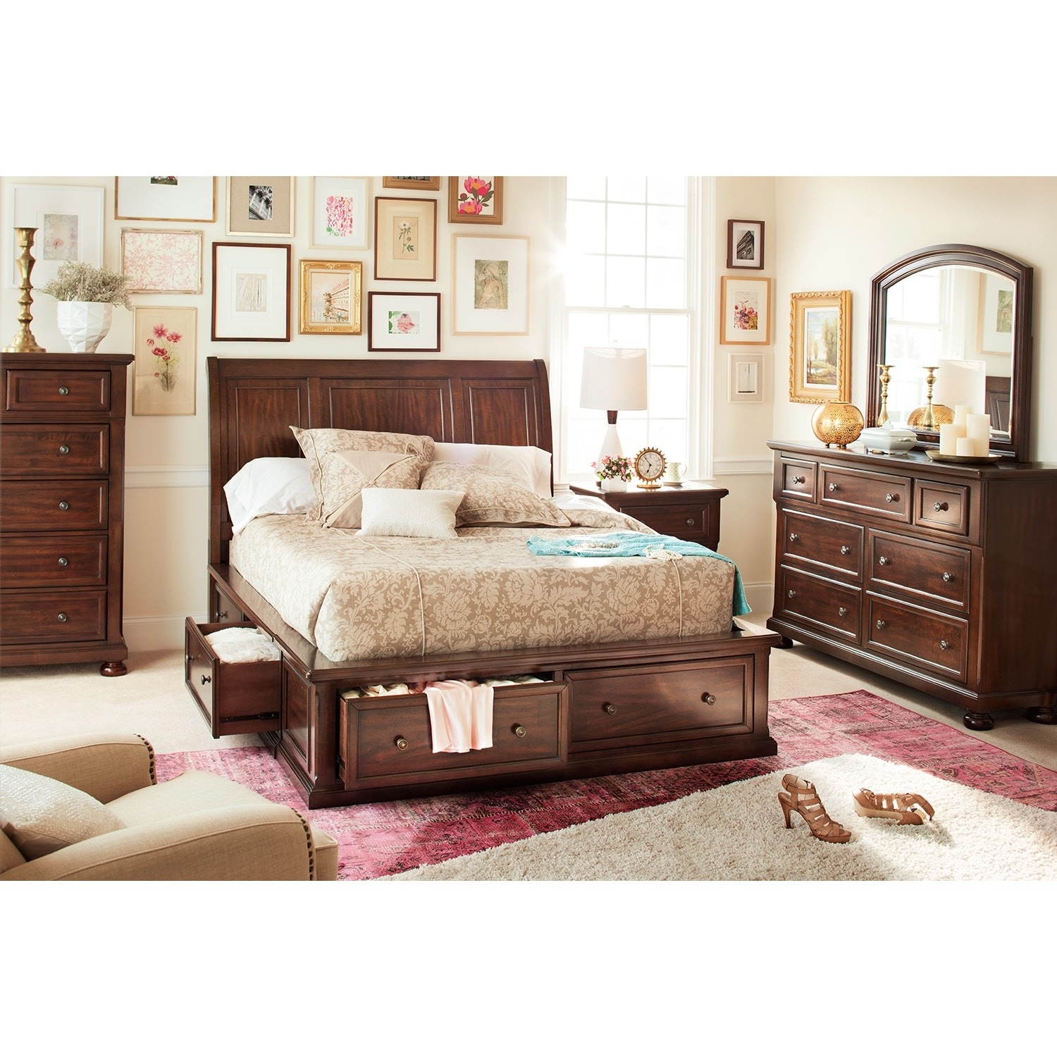 Bedroom Furniture - Hanover 7-Piece King Storage Bedroom Set - Cherry