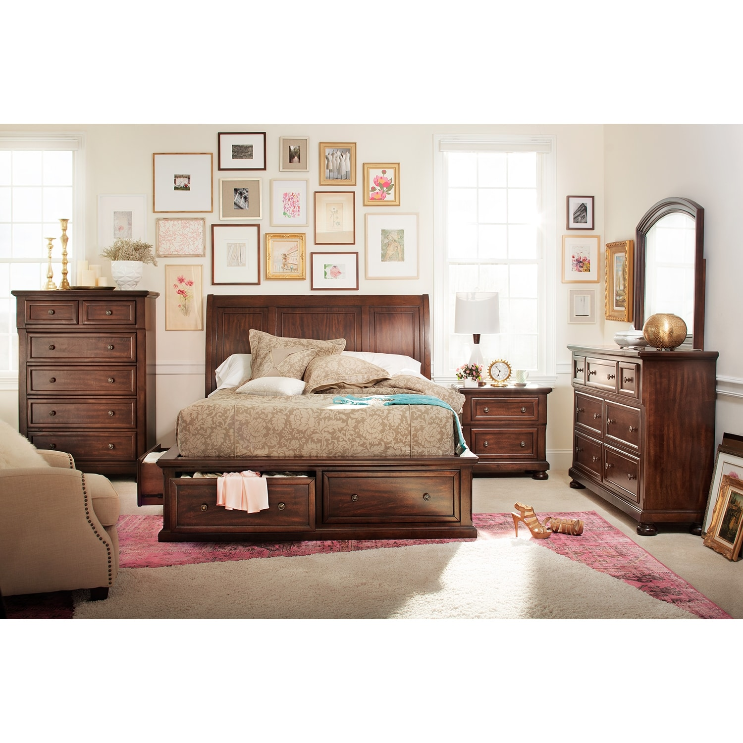 hanover 7 piece queen storage bedroom set cherry value 17687 | 373846 fit inside 7c65 65 composite to center center 7c65 65 background color white