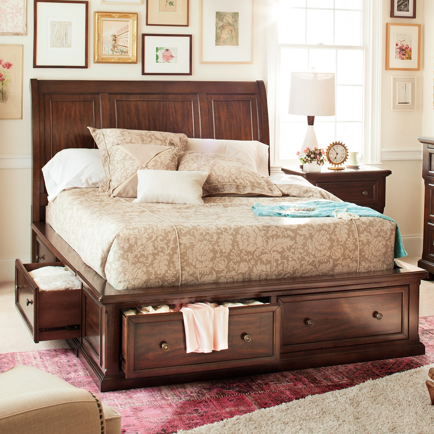 Hanover Queen Storage Bed Cherry Value City Furniture