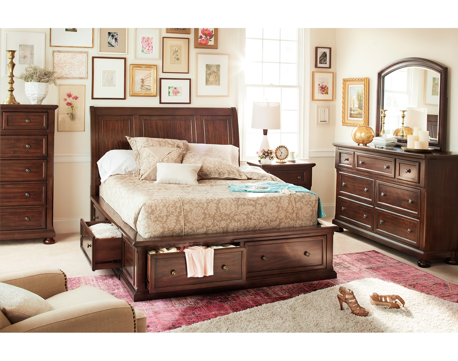 the hanover storage bedroom collection cherry value 17687 | 373851