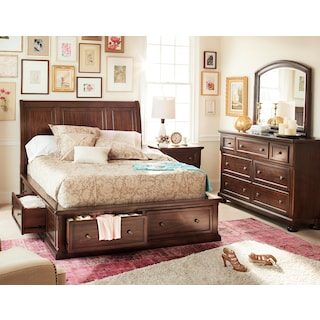 Hanover 5-Piece Queen Storage Bedroom - Cherry