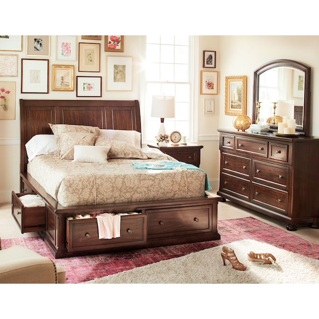 Bedroom Furniture - Hanover 5-Piece Queen Storage Bedroom - Cherry