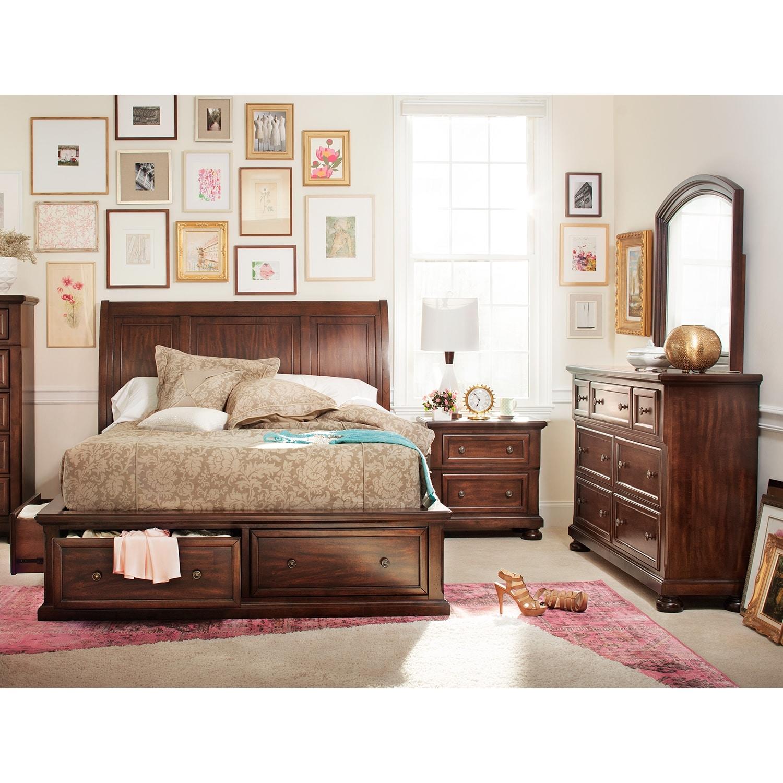 Bedroom Furniture - Hanover 6-Piece King Storage Bedroom Set - Cherry