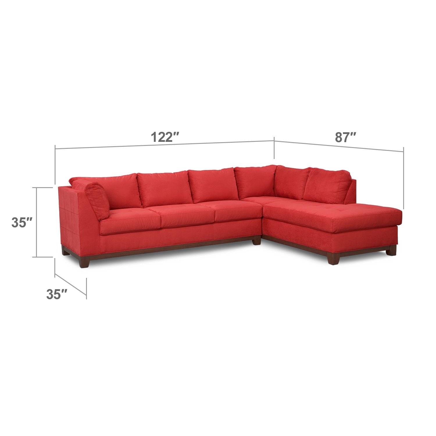 Soho 2 Piece Sectional with Right Facing Chaise Red