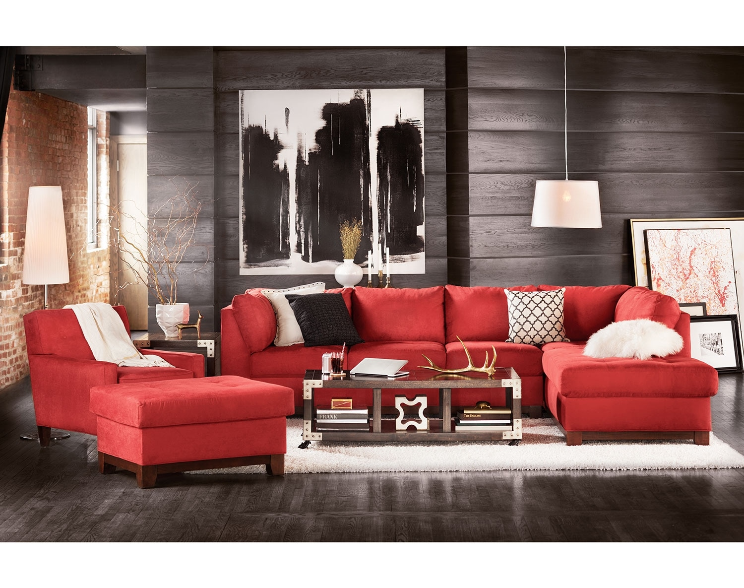 The Soho Sectional Collection   Red
