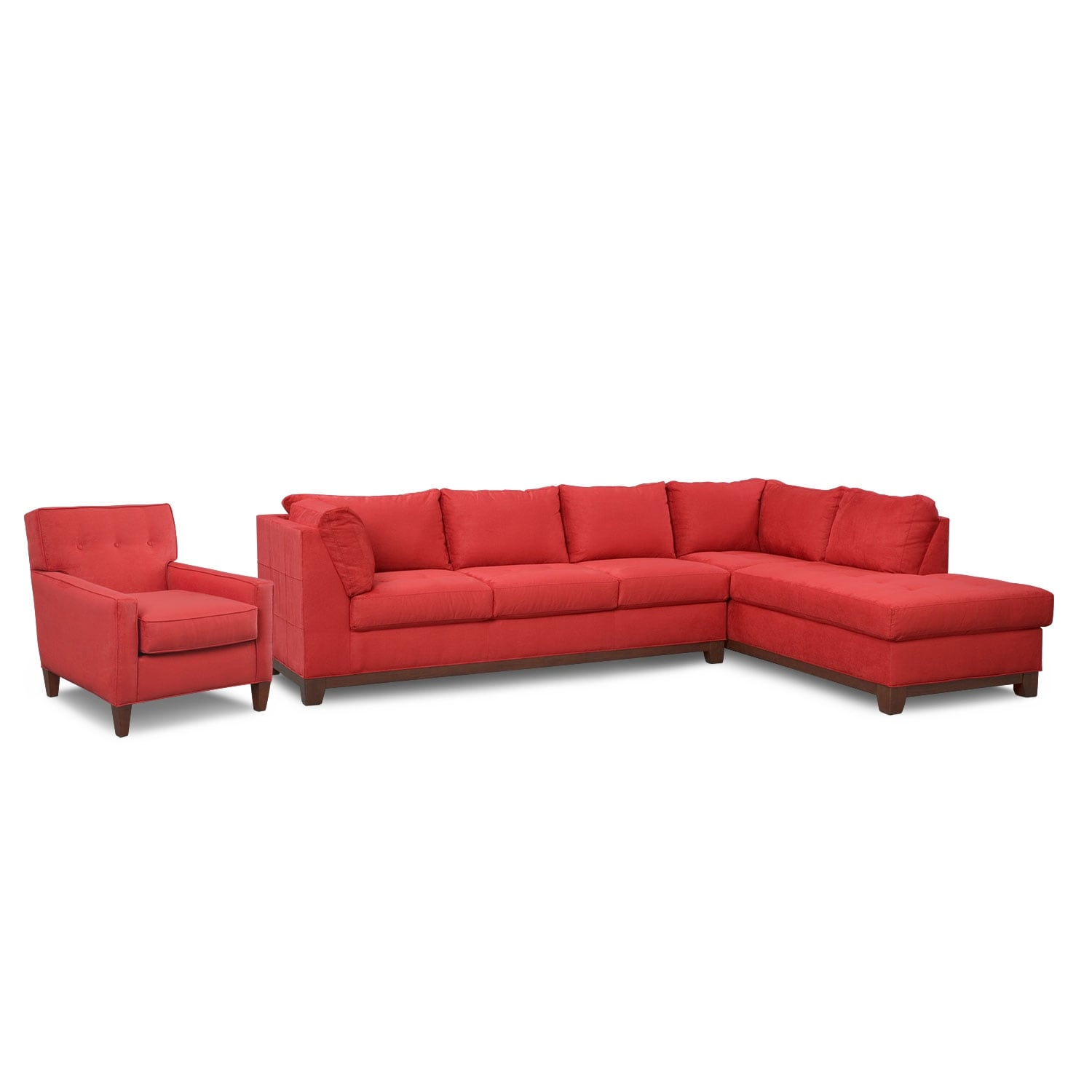Soho 2-Piece Sectional with Right-Facing Chaise and Chair - Red