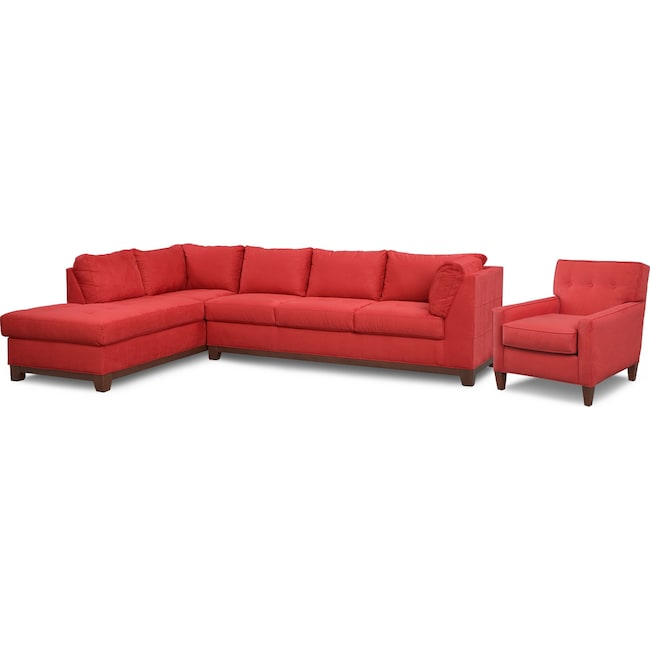 Living Room Furniture - Soho 2-Piece Sectional with Left-Facing Chaise and Chair - Red