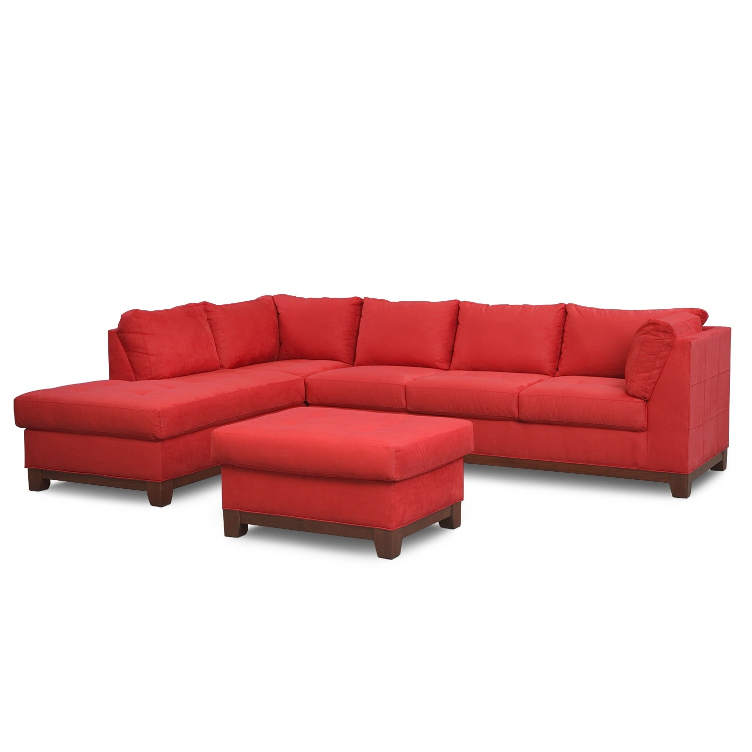 Soho 2-Piece Sectional with Left-Facing Chaise and Ottoman - Red