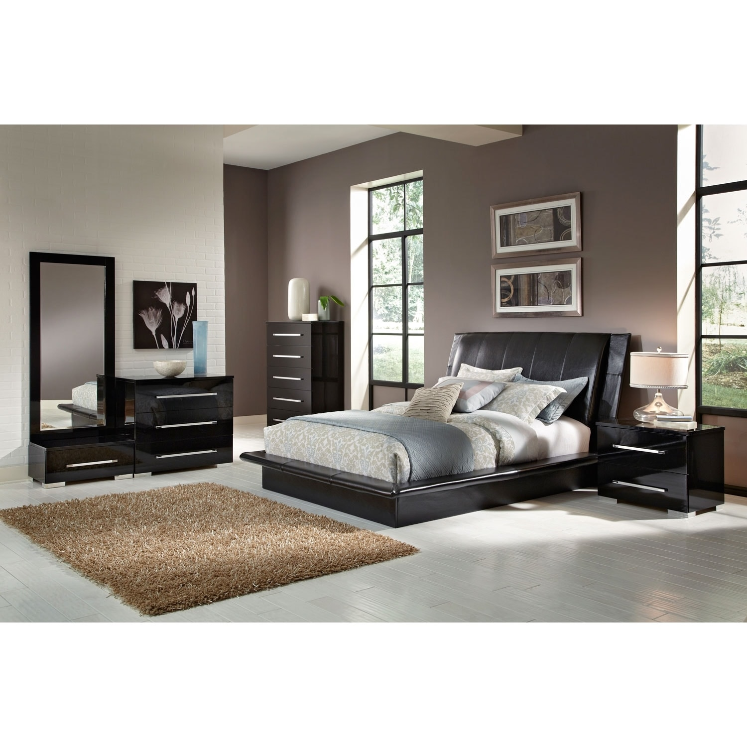 Bedroom Sets Value City dimora 7-piece king upholstered bedroom set - black | value city