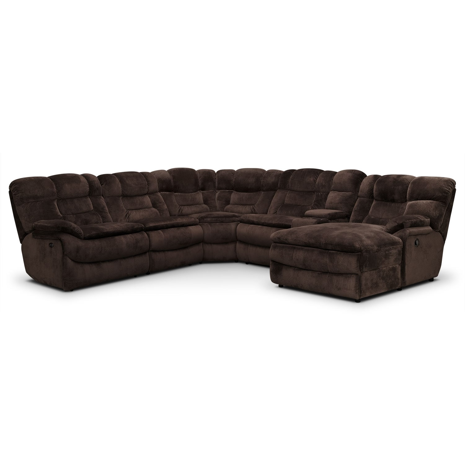 Big Softie 6 Piece Power Reclining Sectional With Right Facing Chaise    Chocolate