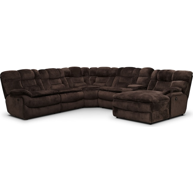 Living Room Furniture - Big Softie 6-Piece Power Reclining Sectional with Right-Facing Chaise - Chocolate