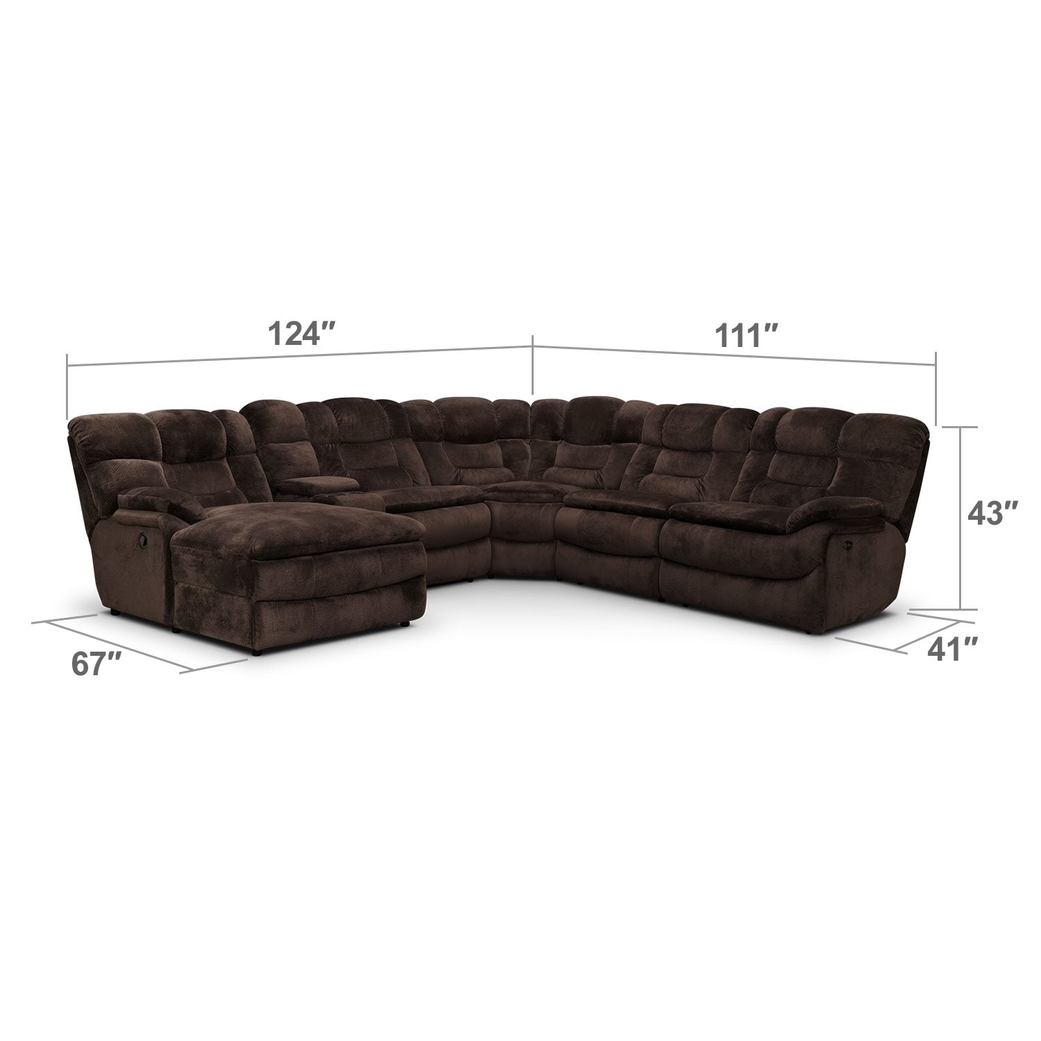 Living Room Furniture - Big Softie 6-Piece Power Reclining Sectional with Left-Facing Chaise - Chocolate