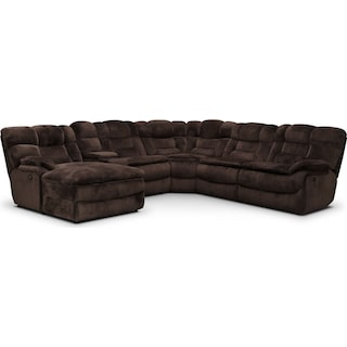 Big Softie 6-Piece Power Reclining Sectional with Left-Facing Chaise - Chocolate