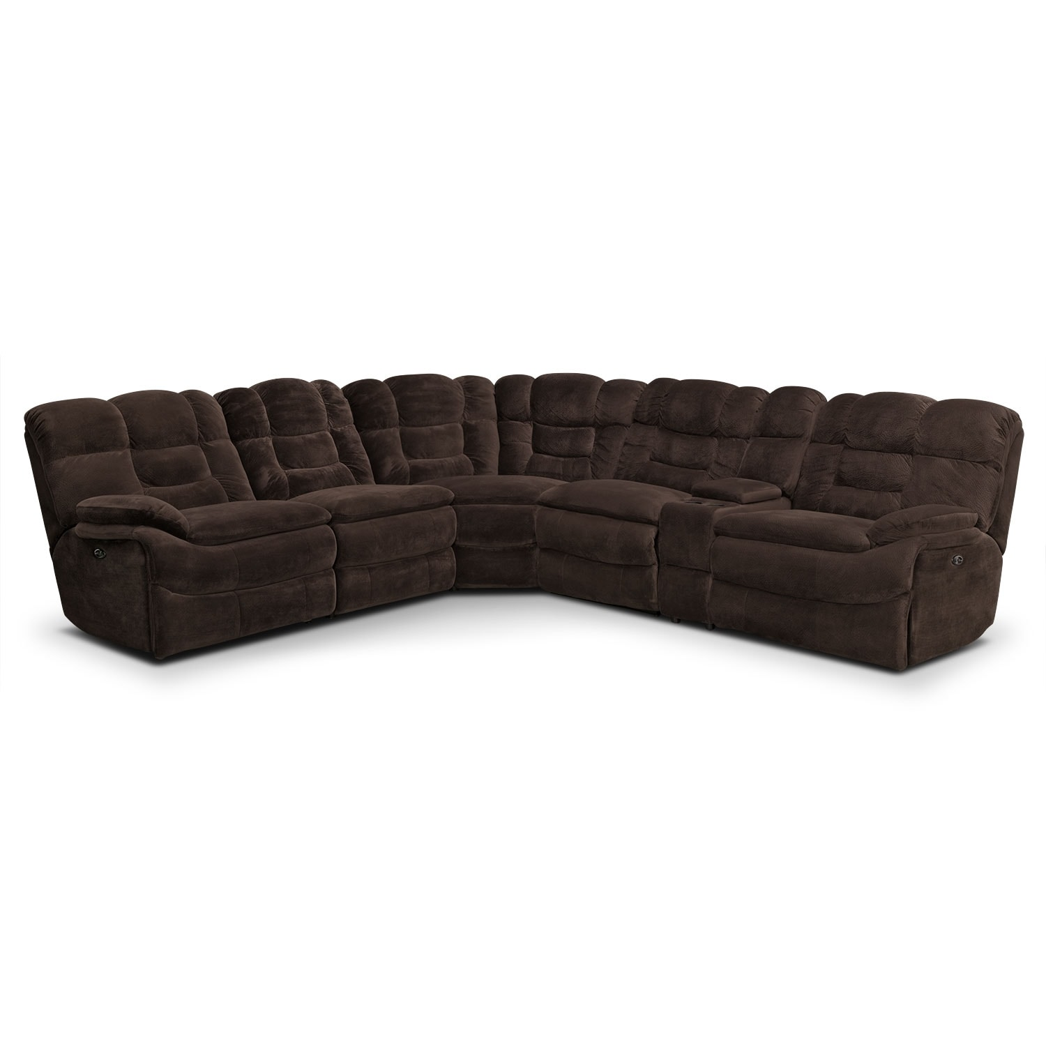 Living Room Furniture - Big Softie 6-Piece Power Reclining Sectional - Chocolate