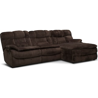 Big Softie 3-Piece Power Reclining Sectional with Right-Facing Chaise - Chocolate