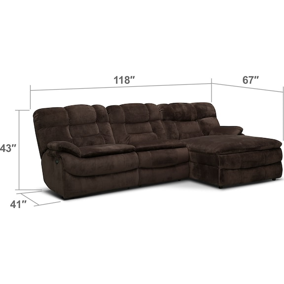 Living Room Furniture - Big Softie 3-Piece Power Reclining Sectional with Right-Facing Chaise - Chocolate