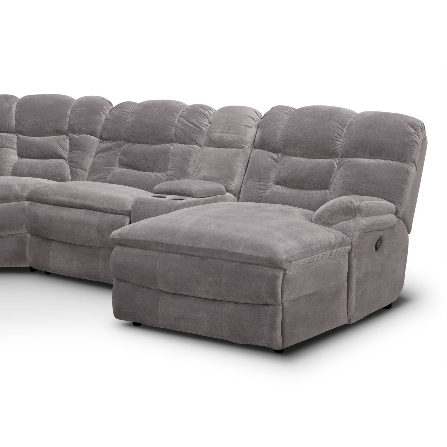 Power Reclining Sectional With Right Press Back Chaise By: Big Softie 6-Piece Power Reclining Sectional With Chaise