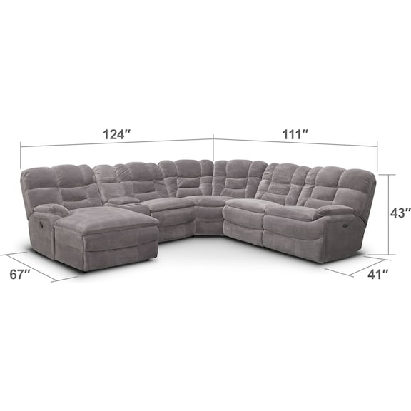 Living Room Furniture - Big Softie 6-Piece Power Reclining Sectional with Chaise