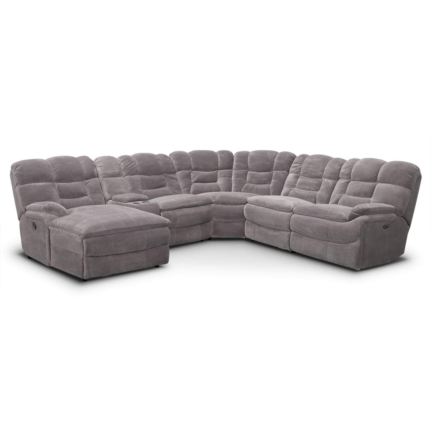 Living Room Furniture - Big Softie 6-Piece Power Reclining Sectional with Left-Facing Chaise - Gray