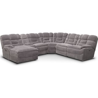 Big Softie 6-Piece Power Reclining Sectional with Left-Facing Chaise - Gray