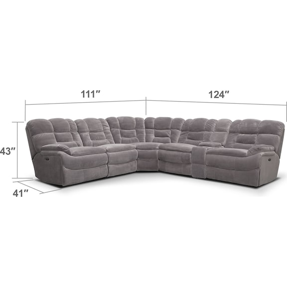 Living Room Furniture - Big Softie 6-Piece Power Reclining Sectional with 3 Reclining Seats