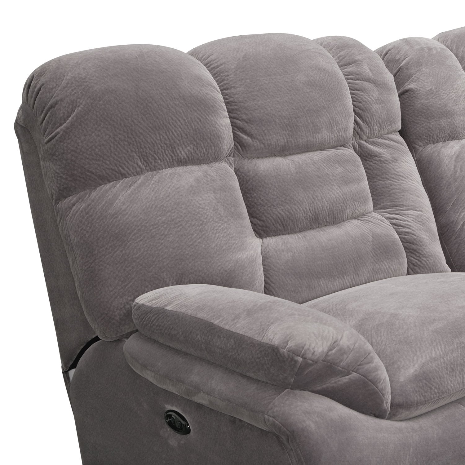 Power Reclining Sectional With Right Press Back Chaise By: Big Softie 3-Piece Power Reclining Sectional With Right