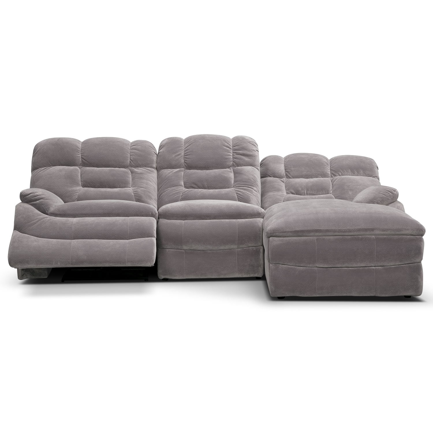 Big Softie 3 Piece Power Reclining Sectional With Right Facing Chaise Gray Value City
