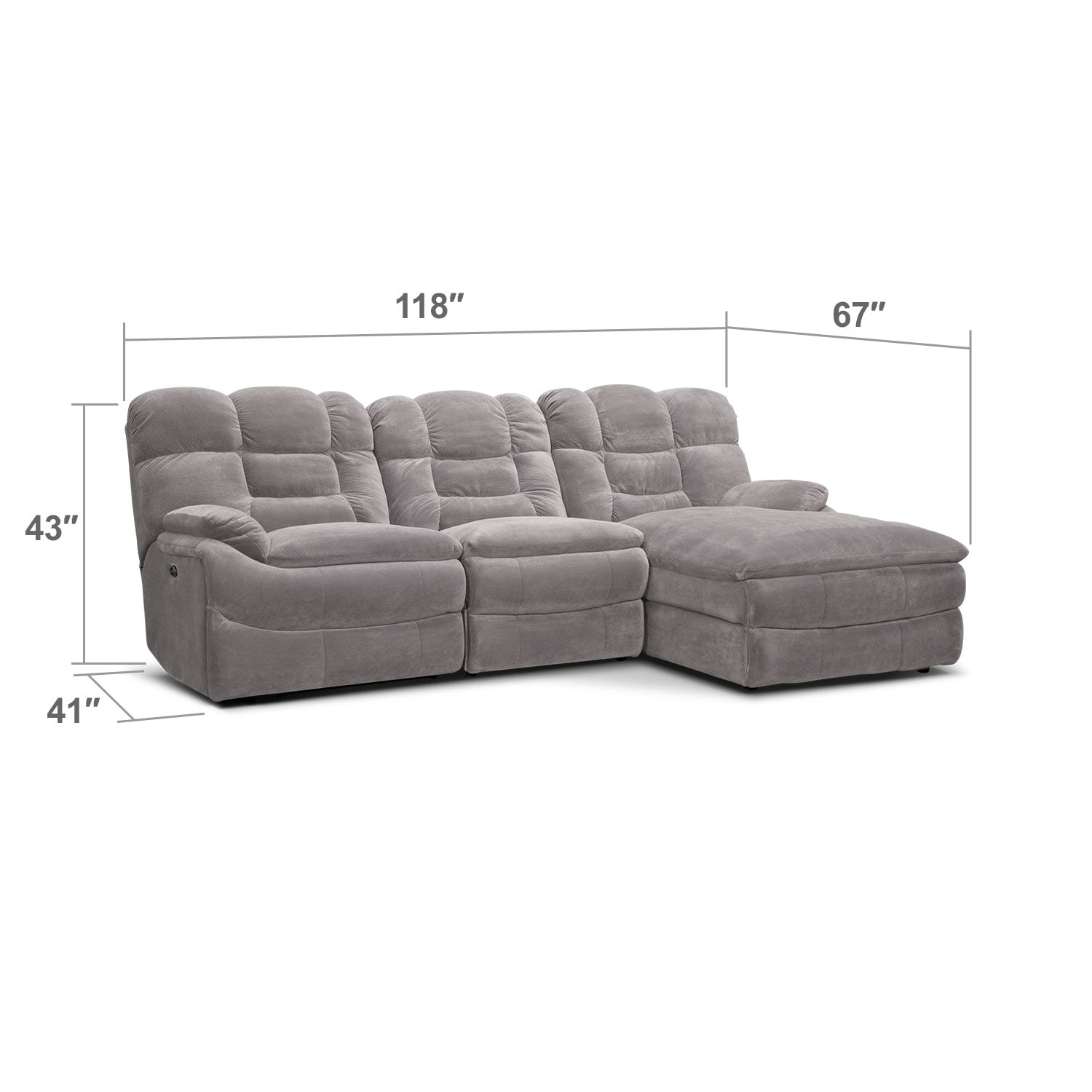 Living Room Furniture - Big Softie II 3 Pc. Power Reclining Sectional