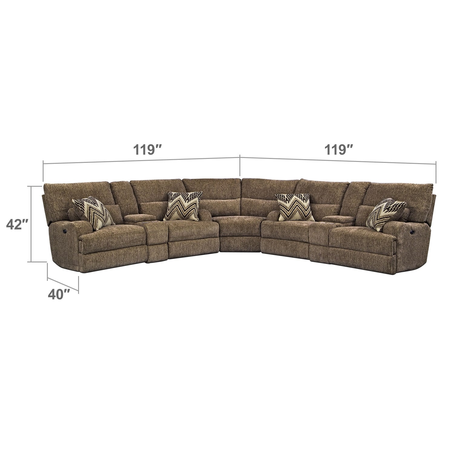 Living Room Furniture - Sundance 3 Pc. Power Reclining Sectional (Alternate II)