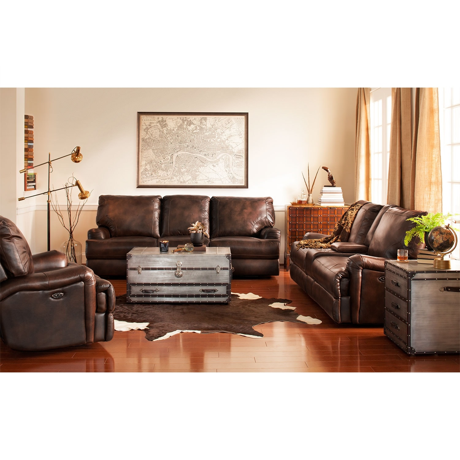 Living Room Furniture - Kingsway Power Reclining Sofa, Loveseat and Recliner Set - Brown