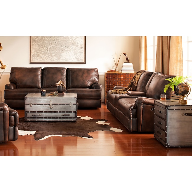 Living Room Furniture - Kingsway Power Reclining Sofa and Reclining Loveseat Set - Brown