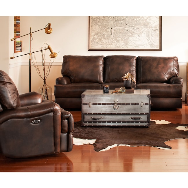 Living Room Furniture - Kingsway Power Reclining Sofa and Recliner Set - Brown