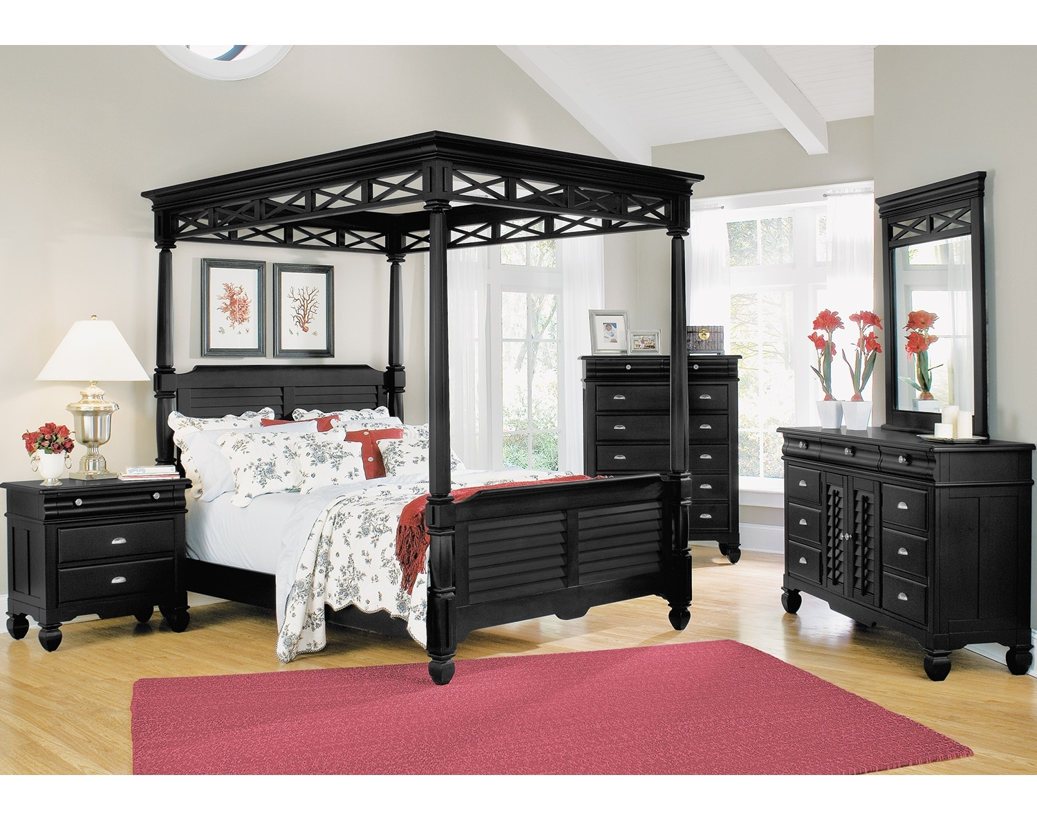 The Plantation Cove Canopy Bedroom Collection - Black