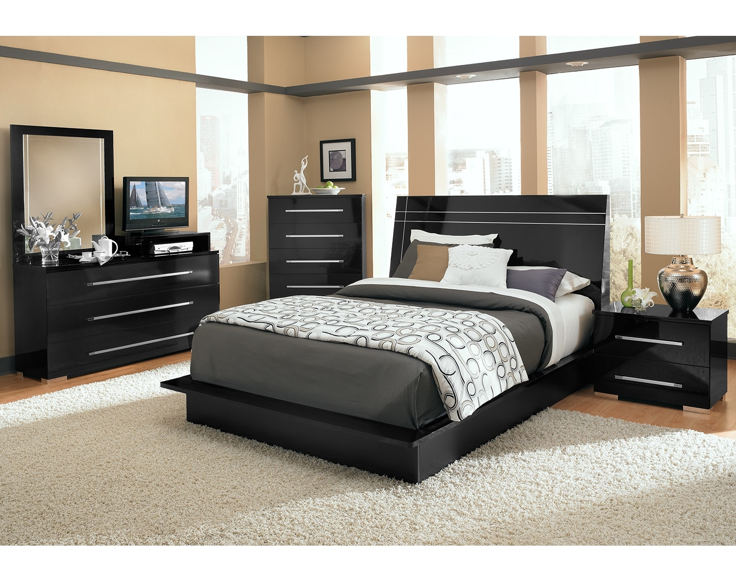 The Dimora Panel Collection Black Value City Furniture and