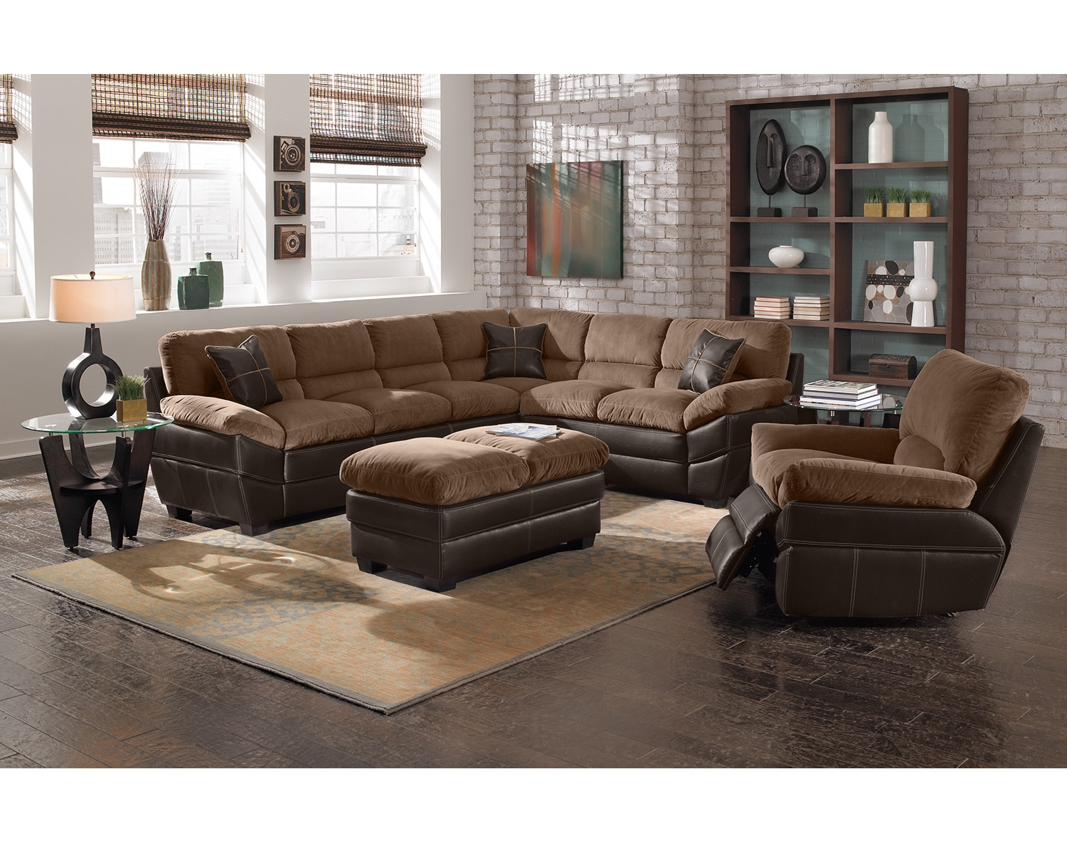 Value City Furniture Living Room The Chandler Sectional Collection Beige Value City Furniture