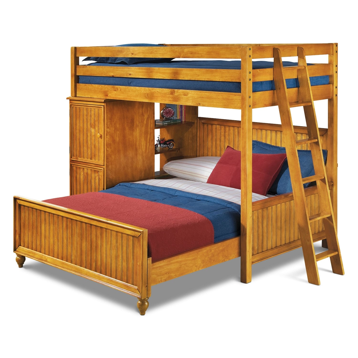 Colorworks Loft Bed with Full Bed - Honey Pine