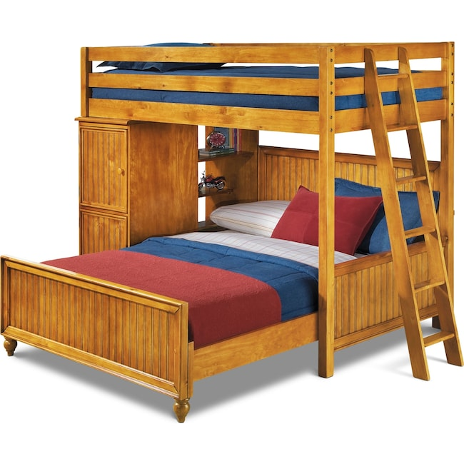 Kids Furniture - Colorworks Loft Bed with Full Bed - Honey Pine