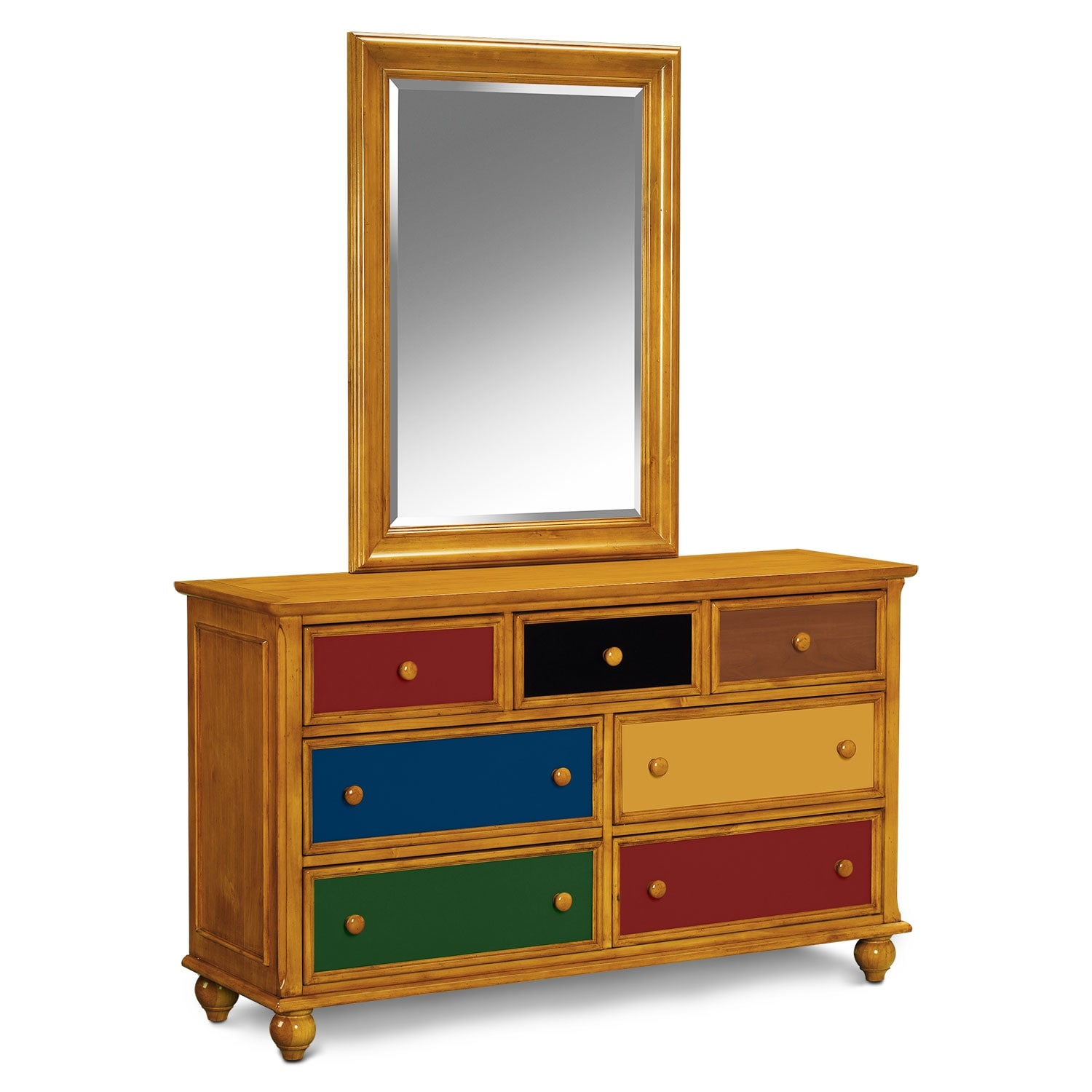 Kids Furniture - Colorworks Dresser and Mirror - Honey Pine