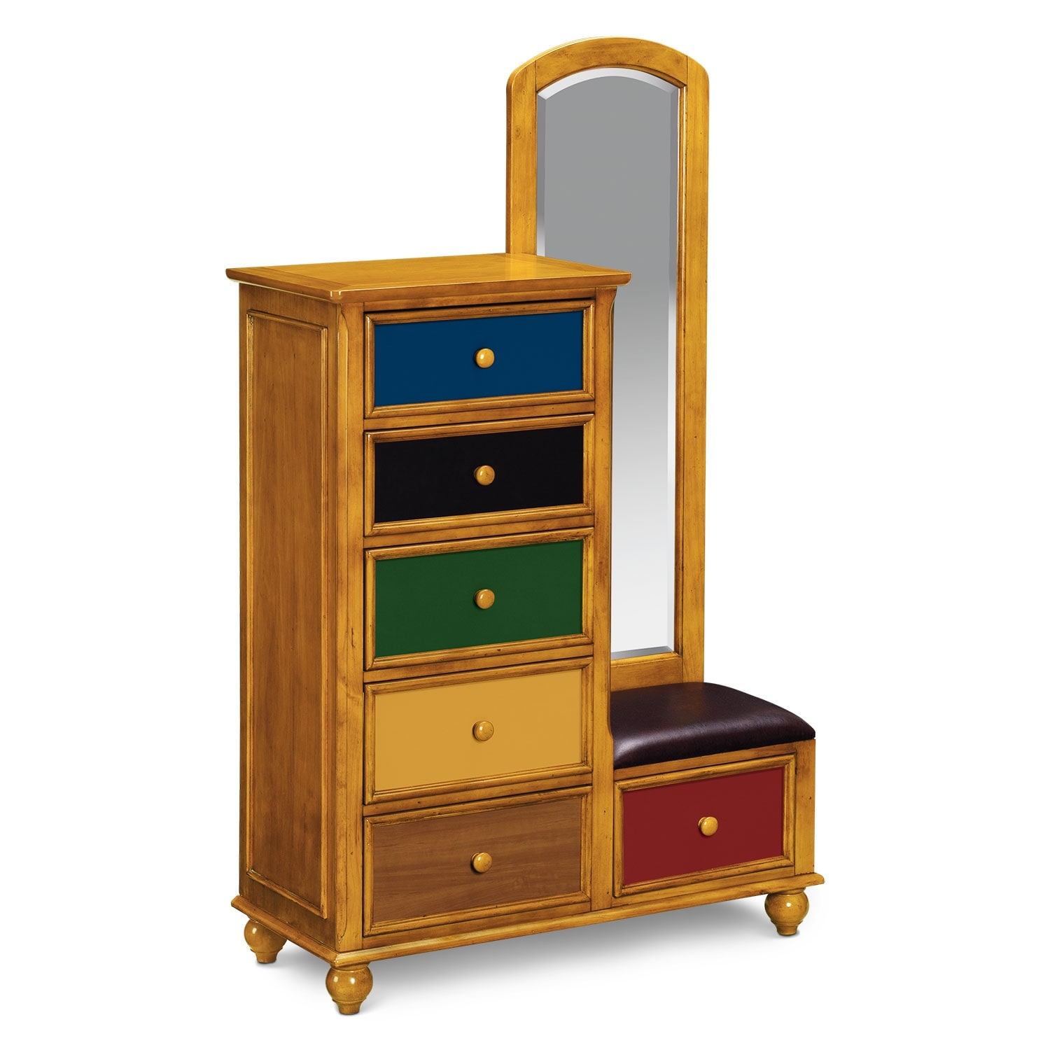 [Colorworks Pine Tall Chest & Mirror]