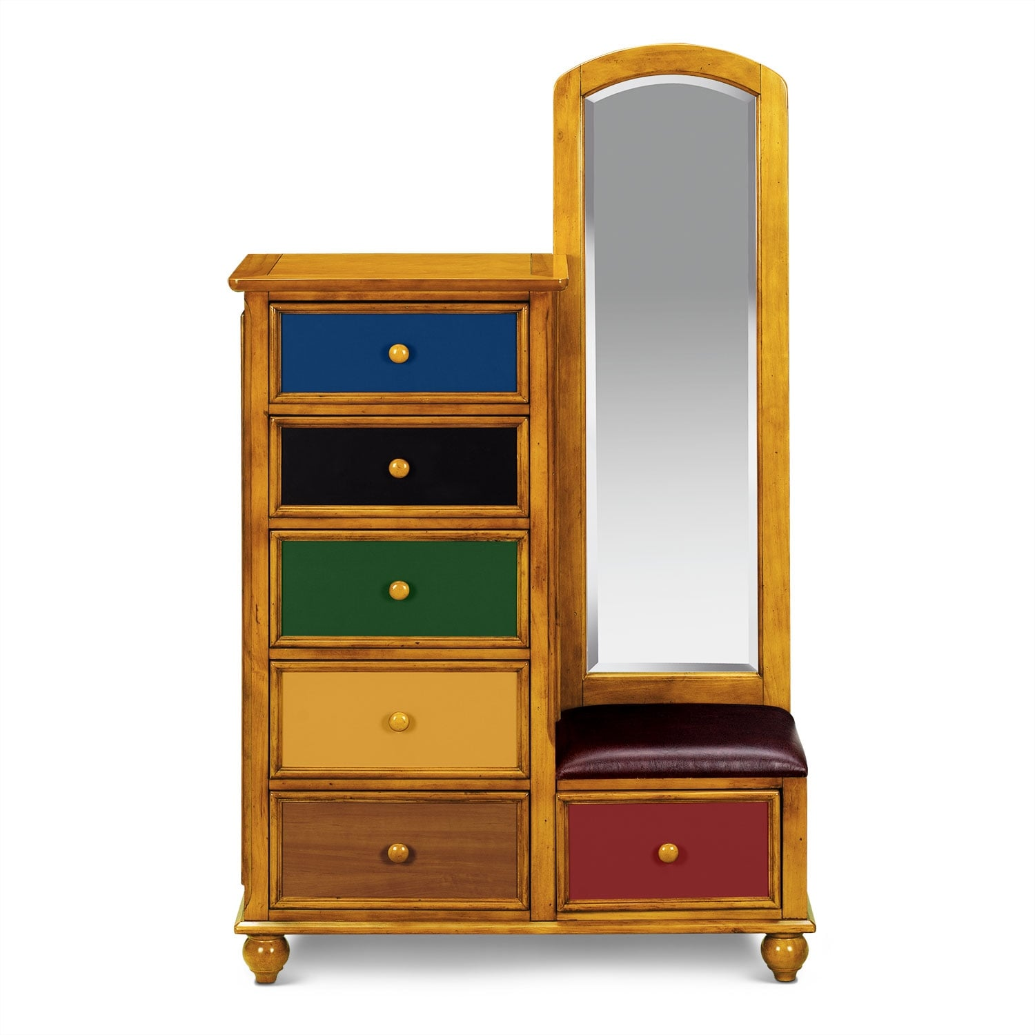 Colorworks Tall Chest And Mirror Honey Pine Value City