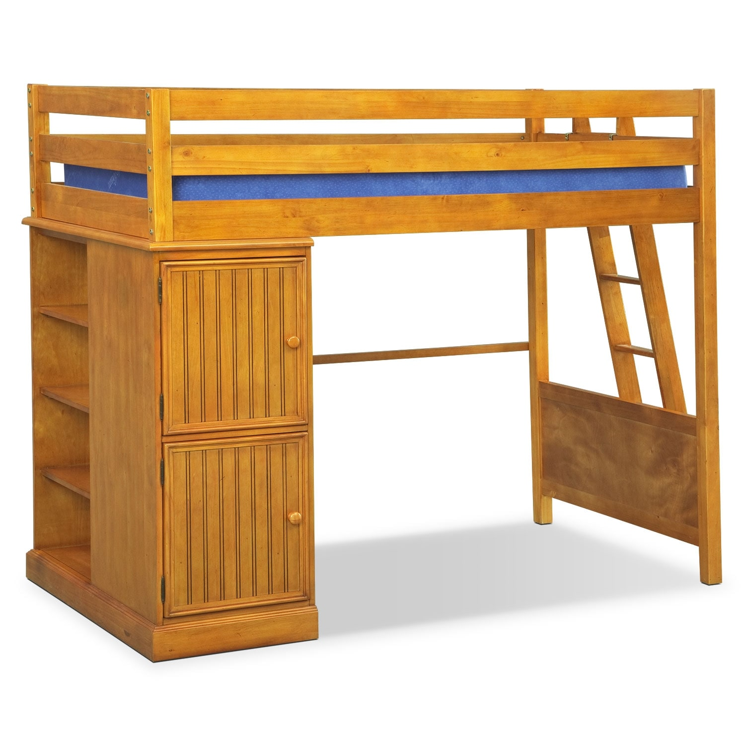 Colorworks Loft Bed with Full Bed Honey Pine
